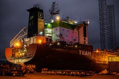 Oil tanker settle for repaire in Frederikshavn (Carl Terlak) Tags: sony ship emount red jutland ilce apsc denmark greatshoot harbour kattegat lens lights zeiss nex nex6 exposure vikings nightshot