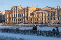Fontanka River Embankment. (Oleg.A) Tags: saintpetersburg sunrise russia street people city cityscape town snow old exterior building colorful avenue orange river morning house architecture sky skyscape outdoor winter nevskyprospect ice nevskyavenue petersburg prospect st leningradoblast ru
