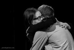 Hug. (Petoskey Drones) Tags: calin embrace friends couple man woman lunettes bw emotion