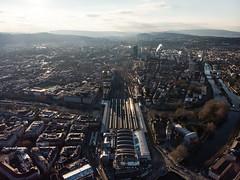 (victoriousviktor) Tags: zurich hb drone dji mavic air sunset railroad primetower aerial horizont switzerland