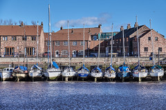 Moored (scottprice16) Tags: england yorkshire outdoors march 2019 mooring harbour yacht building houses colour river riveresk whitby coast blue red brick fuji fujixt1 18135mm