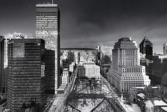 A Skyline  ... (c)rebfoto (rebfoto..away on assignment..) Tags: montreal skyline rebfoto monochrome urbanscape city cityscape buildings skyscrapers blackandwhite