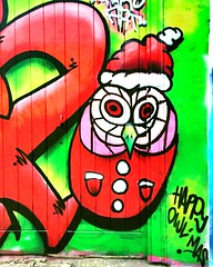 Happy Owl  mas by Harpo Art (Jason Khoo Photography) Tags: harpoart merrychristmas christmas happychristmas spraypaint spraycanart artwork art flickr ilovestreetart brighton owl color colour urbanwallart urbanwalls urbanart wallart graffitiart graffitiporn graffiti streetartporn streetartphotography streetart moods festive unlimitedphotos iphoneshotz iphoneshots iphone6 iphone365 iphone
