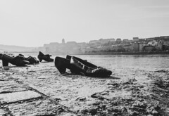 Shoes on the Danube bank. (masuda316) Tags: budapest danube bank hungary history shoes leica cl digital bnw black white