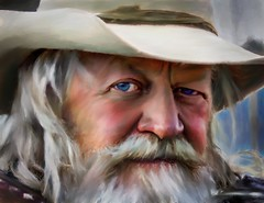 Look into my Soul (Bob C Images) Tags: portrait eyes cowboy hat beard santafe newmexico paint