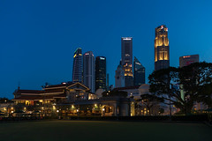 Singapore Cricket Club (ctheisinger) Tags: places asia singapore singaporecricketclub centralregion sg padang blue hour cityscape skyline bowling green