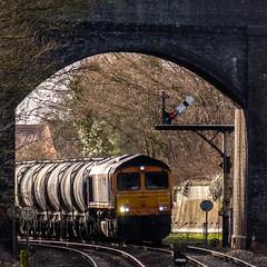 Approaching (Peter Leigh50) Tags: gbrf ketton cement train trees track bridge semaphore signal locomotive railway railroad rail fujifilm fuji xt2 class 66 shed