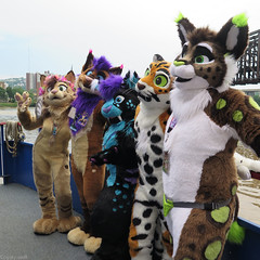 Furry Cruisers (Coyoty) Tags: anthrocon2018 anthrocon anthropomorphics anthropomorphic pittsburgh pennsylvania pa riverboat boat cruise square furry fandom fun furries fursuit furryfandom costumes cosplay mascott colors water river alleghenyriver monongahelariver squareformat people
