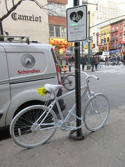2019 February Ghost bike death on 45th street NYC 4724 (Brechtbug) Tags: ghost bike death 45th street green light pole tribute bicycle accident victim sidewalks flowers stickers note pavement new york city 2019 nyc memorial rip wings art memorials mark sites of victims who were killed in traffic february 02042019 midtown manhattan 72 year old man hitandrun monday morning