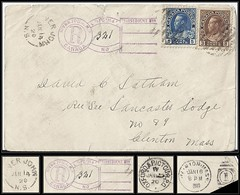 Nova Scotia Postal History / Registered Keyhole - 14 January to 16 January 1920 - RIVER JOHN (Pictou County), N.S to Clinton, Mass. / USA (split ring / broken circle cancel / postmark)