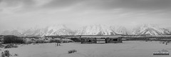 Cunningham Panorama (kevin-palmer) Tags: december winter cold snow snowy nikond750 tamron2470mmf28 panorama panoramic blackandwhite monochrome moran grandtetonnationalpark tetons mountains cunninghamcabin old historic structure logcabin building morning cloudy overcast