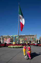 Everybody wants to save the earth; no one wants to help mom do the dishes (gcarmilla) Tags: red zocalo mexico mexicocity ciudaddemexico cittadelmessico cleaning bandiera flag roadsweeper netturbino operatoreecologico bandera
