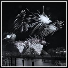 Fireworks_9123 (bjarne.winkler) Tags: 2018 new year fireworks over sacramento river california tower bridge pyramid ziggurat building delta king black white