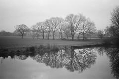 Misty Morning in Blackrod (PaulEBennett) Tags: mono blackandwhite film pentaxespio blackrod bolton canal reflection leedsliverpoolcanal