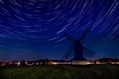 Pitstone windmill star trails (travelingjournalist) Tags: astral chilterns hartfordshire ivinghoe naturereserveryemeadsgatehouse nightsky photography pitstone ryemeads sky stars startrails windmill