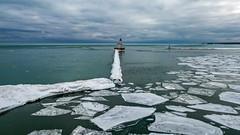 2019-053/365 Milwaukee Breakwater Lighthouse (Sharky.pics) Tags: lighthouse usa winter february milwaukee snow drone dji ice wisconsin 2019 milwaukeebreakwaterlighthouse aerial unitedstates aerialphotography djimavicpro lakemichigan unitedstatesofamerica us