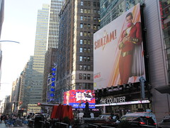 Shazam The Big Red Cheese Billboard 42nd St NYC 3746 (Brechtbug) Tags: shazam billboard 42nd street new captain marvel the big red cheese poster ad nyc 2019 times square movie billboards york city work working worker paint painting advertisement dc comic comics hero superhero alien dark knight bat adventure national periodicals publication book character near broadway shield s insignia blue forty second st fortysecond 03142019 lightning flight flying march