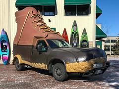 Quickly Robin! To the Bootmobile!!! (lclower19) Tags: iphone bootmobile llbean freeport maine atsh highway rolling odc unexpected