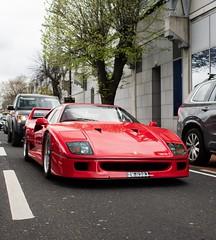 Ferrari F40, in traffic in Central Dublin (orangecalipers1) Tags: summer red italy car hypercar ireland dublin saturday supercar f40 ferrarif40 ferrari