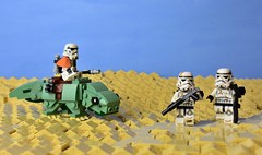 """""""Look sir! Droids!"""" (WG Productions) Tags: starwars storm trooper dewback tatooine sand moc galactic civil war sandtroopers droids escape pod search lego"""