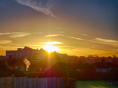 Sunrise over the Mothership (wi-fli) Tags: southmead southmeadhospital sunrise hdr olympus lumix urban goldenhour morning hospital brunelbuilding bristol dxo greystoke winter westcountry