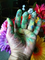 happy paint (kromazones) Tags: hands paint acrylic colors flowers