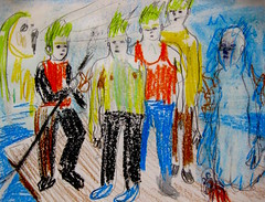 The Dulanty Children Obtain The Ile de France (giveawayboy) Tags: pencil ballpoint pen charcoal eraser water drawing sketch acrylic paint painting art fch tampa artist giveawayboy billrogers ralafferty raphaelaloysiuslafferty lafferty reefsofearth dulantys dulantychildren iledefrance raft puca pucachildren green hair bagarthachverse bagarthach verse dulanty