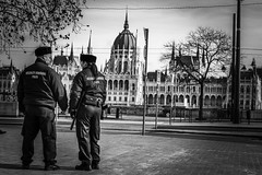Budapest in black and white (PhotoFreakx) Tags: hungary budapesr lumixfz1000 phototechnique lumix streetphotography street architecture police urban city bw blackandwhite