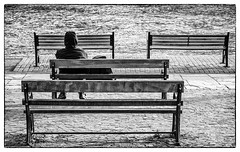 084 Solitude (georgestanden) Tags: blackandwhite black white monochrome desaturated photo photography photograph bnw art picture photooftheday blackandwhitephotography bw monoart minimalism minimalist minimal minimalistic simple simplicity lessismore negativespace solitude chester cheshire riverdee river water bench timber wooden promenade thegrovescity cityscape cobblestones people sony a6000