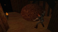Barreling the Boulder (Platemail) (BarricadeCaptures) Tags: kingsquest kingsquestmaskofeternity maskofeternity undergroundrelamofthegnomes underground undergroundtunnel tunnel connor connorofdaventry chainmail platemail boulder flames torches gamescreenshots gamephotography videogame screencapture screenshot