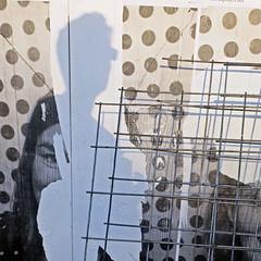 under construction (Jim_ATL) Tags: wall art torn poster polka dot wire mesh shadow selfie atlanta
