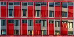 A new building on the other side (Logris) Tags: architektur architecture building gebäude rot red spiegelung reflection window windows fenster city stadt minimal dus düsseldorf dusseldorf