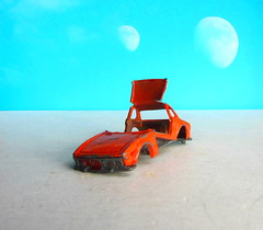 Matchbox SuperFast Toys No. 45 BMW 5.0 CSL 1976 Broken Up For Art Piece : Diorama Futuristic Double Moon - 4 Of 6 (Kelvin64) Tags: matchbox superfast toys no 45 bmw 50 csl 1976 broken up for art piece diorama futuristic double moon
