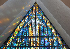 Arctic Cathedral (Seventh Heaven Photography *) Tags: stained glass window colourful colours colors mosaic arctic cathedral northern norway tromso tromsø nikond3200 interior troms tromsdalen valley church reflections tromsøysund kirke ishavskatedralen