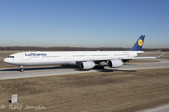 D-AIHF Airbus A340-600 Lufthansa Munich airport EDDM 18.02-19 (rjonsen) Tags: plane airplane aircraft aviation airliner airside wide angle