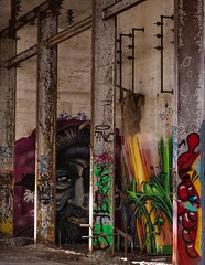 Art in the Abandoned Pic #3 (SpyderMarley) Tags: fujifilmxt2 cement hydrostation derelict decay oldpowerstation britishcolumbia vancouverisland jordanriver power station fujifilm xt2 colourful art building graffiti abandoned old plant canada