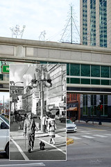 """A Tale of Two Decembers: 1977 & 2018"" (D A Baker) Tags: refotografie rephotography daniel baker allencountypubliclibrary acpl downtown fort wayne ft allen county street calhoun christmas 1977 2018 december decorations festive thenandnow dearphotograph lookingintothepast history indiana rocks united states unitedstates america"