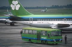 Bedfords & Boeings (Longreach - Jonathan McDonnell) Tags: aerlingus slide scanfromaslide 1980s bedford bedfordval tarmacbus apronbus boeing 1989 268025 eiasg 737 737200 737248