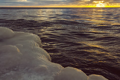 Michigan Sunset Fire on Ice (matthewkaz) Tags: lakemichigan lake water greatlakes sunset reflection reflections ice sky clouds waves frozen snow winter grandhaven michigan puremichigan 2016