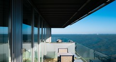 Aranguren + Gallegos. Parador Cadiz #5 (Ximo Michavila) Tags: aranguren gallegos parador cadiz spain paradores ximomichavila building arquitectura architecture archidose archiref archdaily hotel turismo andalucia day clear sunlight blue sky balcony glass sea water shadow