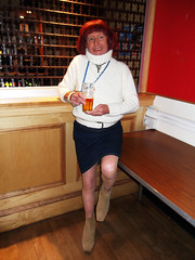 Catriona, Totton, 15.11.18, 007 (catrionatv) Tags: southampton totton disco table bar counter grille glass drink feminisation transvestite tv transgenger tg crossdresser crossdressing tgirl dressed posing cat catriona nightout eyeshadow lipstick red foundation powder makeup costume belt footwear boots dress pantyhose hosiery tights legs sweater