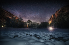 Yosemite's Half Dome on a Snowy Night (Mike Filippoff) Tags: yosemite california snow night clear meadow stars milkyway mountains illumination winter storm park tree sky landscape