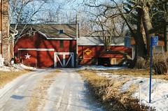 Farm on 5 Mile Rd., Racine County, Wisconsin (Cragin Spring) Tags: unitedstates usa unitedstatesofamerica midwest farm barn red rural wisconsin wi racinecounty snow star driveway winter