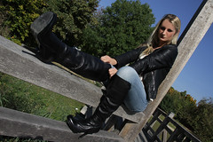 Lorena 16 (The Booted Cat) Tags: sexy long blonde hair girl model woman tight blue jeans leather jacket boots heels highheels overkneeboots
