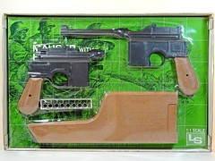 LS – Vintage Plastic Model – 1/1 Scale – German – Mauser Military M96 with Broomhandle – Mid Blister Card (My Toy Museum) Tags: ls vintage plastic kit gun pistol german mauser m96 holster stock broomhandle broom handle