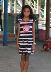 pretty girl standing at attention in a striped dress (the foreign photographer - ฝรั่งถ่) Tags: pretty girl child striped dress khlong bang bua portraits bangkhen bangkok thailand nikon d3200
