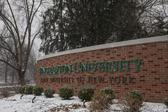 Winter scenes at Binghamton Universit (BinghamtonUniversity) Tags: 2019 buildingsandfacilties winter snow sign bartledrive entrance vestal ny usa