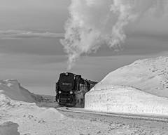 Brocken snow mound (Nigel Valentine) Tags: brocken narrow gauge steam germany snow drift black white mono panasonic fz1000