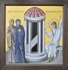 Аналойная икона Воскресения Христова (явление ангела мироносицам у пустого гроба).