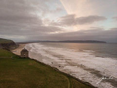 Elevated view of Mussenden Temple (jtatodd) Tags: aerial amateur architecture atlanticocean attraction beach building castlerock causewaycoast cliff coast countylondonderry dji djimavicair digital downhilldemesne dragonstone drone flight gameofthrones heritage ireland ironislands landmark landscape mussendentemple nationaltrust nature northcoast northernireland ocean photography rocks rugged scenic sea seascape sky sunset swell tide tourist waves